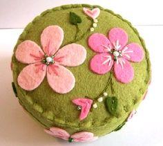 pretty-pretty pink flowers on green pincushion <3 <3 <3