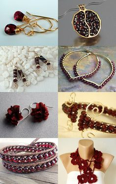 January: Garnet- The birthstone for the month of January is the beautiful deep red garnet. Here is a list of garnet and garnet inspired handmade Etsy giftables.--Pinned with TreasuryPin.com