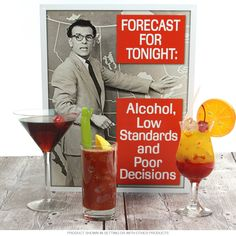 Forecast For Tonight Alcohol Tin Sign | Funny Wall Decor | RetroPlanet.com
