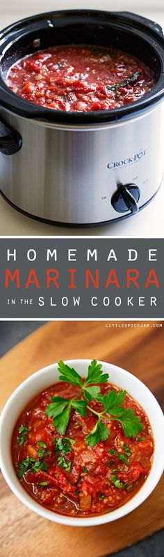 Homemade Marinara Sauce (Slow Cooker) - easy marinara sauce made in the slow cooker and it tastes 1000% better than the store bought stuff! #marinarasauce #slowcookermarinarasauce #crockpotmarinarasauce | Littlespicejar.com