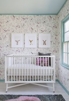 Nursery designed by Sharon Montrose featuring her own animal prints. Photo by Joe Schmelzer (via House of Turquoise).