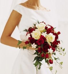 Red & white roses, stephanotis and ivy