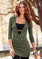 Olive green military style sexy sweater dress