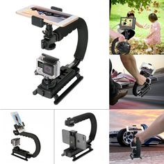 Fantaseal Smartphone+Action Camera+Camcorder+ DSLR Camera Stabilizer C Shape Rig Low Position Shooting System Compatible with Nikon/Canon/Sony/GoPro/SJCAM/Yi /Garmin Virb XE + iPhone/Samsung Nikon, Gopro Camera, Camera Gear, Video Camera, Samsung Camera, Dslr Cameras, Camera Hacks, Camcorder, Canon Eos