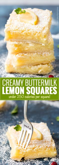 The best Creamy Lemon Bars have an easy shortbread crust and a layer of thick and creamy lemon filling. So tangy and sweet - a classic dessert recipe! Spring Desserts, Lemon Desserts, Easy Desserts, Delicious Desserts, Yummy Food, Best Summer Desserts, Buttermilk Recipes, Lemon Recipes, Sweet Recipes