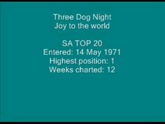 Three Dog Night - Joy to the world. Three Dog Night, 70s Music, Olivia Newton John, Joy To The World, Rock Bands, Positivity, African, Youtube, 1970s Music