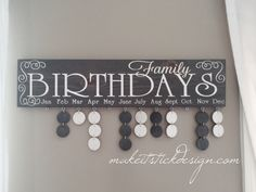 Family Birthday Board, Celebration Board, Birthday Calendar, Family Celebrations, Grey Stained and White Wall Hanging Birthday Reminder Board, Family Birthday Board, Birthday Signs, Card Birthday, Birthday Quotes, Birthday Ideas, Birthday Calendar, Deco Originale, Grey Stain
