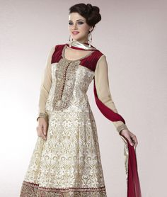 Discover a whole new regal opulence as fashionandyou.com brings to you a very special Mughal inspired collection from Brijraj. Exquisitely done with intricate designs worthy of royalty, each piece from this line-up will take your wardrobe to dizzying heights.Design Highlights: Anarkali Suit Crafted By Resham Embroidery with Lace Strip  Border.BRAND: BrijrajCATEGORY: Unstitched Suit with Dupatta and LiningARTICLECOLOURMATERIALLENGTHTopCreampoly georgette3.00 metersBottomMaroonShatoon2.25…