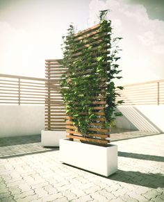 a mobile planter base made from a solid piece of cast concrete. The bottom of the base is inset to accommodate four 360 deg. castors. The vertical wood structure forms a contemporary lattice to promote/support plant growth.