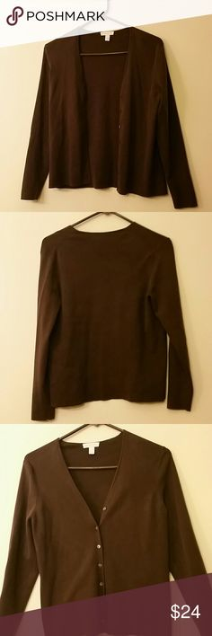 Charter Club chocolate brown cartigan NWOT size M Cartigan is never worn without tags with long sleeves and 7 buttons. Measures 23 inches from top of shoulder to bottom hem; 18 inches armpit to armpit and 22 inches sleeve. Charter Club Sweaters Cardigans
