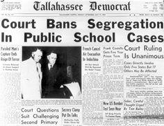 The Tallahassee Democrat reports the Brown v. Topeka, Kansas Board of Education ruling. (May 17, 1954)   Florida Memory