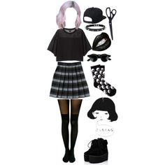 goth cutie by teagzz-the-teabag on Polyvore featuring мода, Monki, Pretty Polly, Pull&Bear, Trend Cool, Quiksilver and French Toast