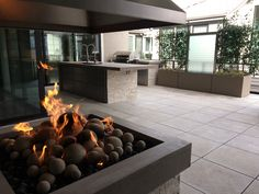 Ready to entertain outdoors? Regardless of the season, you can enjoy being outside with this custom fire pit, countertop, planter and trellis by E and C Precast Concrete, Wooden Pergola, Outdoor Pergola, Pergola Plans, Pergola Kits, Outdoor Decor, Pergola Ideas, Custom Fire Pit, Precast Concrete, Pergola Canopy
