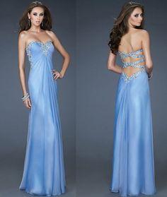 Robe de bal bleu clair de Sweetheart cristal par PromQueenDress, $115.00