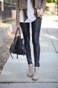 black leather pants, white t-shirt, suede ankle boots, suede jacket, brown scarf, black handbag