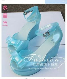 d0512341e Aliexpress.com   Buy Melissa jelly shoes high heeled bow wedges sandals  crystal plastic shoes waterproof from Reliable shoe patent suppliers on  Clothes ...