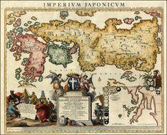 Reproduction 1740 Relando Japonais Japon Asia Vieux Ancien Couleur Carte NEUF