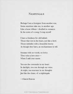 Nightingale: A Song Of Romance, Poetry Of Love By Clairel Estevez Like a loose ribbon—dwelled in romance In the notes of a song, I wrap myself. Song Quotes, Poetry Quotes, Qoutes, Fun Words To Say, Cool Words, Blake Belladonna, Poem A Day, Unusual Words, Romance And Love