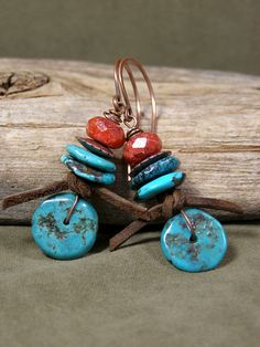 Turquoise Earrings  Native Earrings  Tribal by StoneWearDesigns(for turquoise coins)