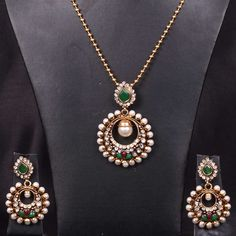 Pendant Set Chand Bali with Emerald and Pearl drops - WJ0285 Bridal Jewellery  Pendant sets
