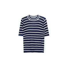 Striped Slim Fit Knit T-Shirt ❤ liked on Polyvore