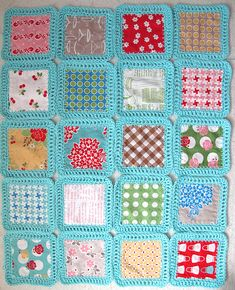 Fusion Quilt -- Crochet and quilt squares. What a great way to make a memory fabric quilt. Just add on fabric squares on. Fusion Blanket Crochet Along. Crochet Fabric, Crochet Quilt, Crochet Afghans, Knit Or Crochet, Crochet Granny, Crochet Crafts, Crochet Stitches, Crochet Projects, Blanket Crochet