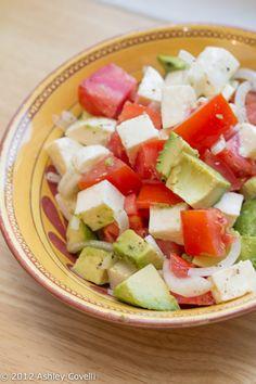 Tomato, Avocado, Fresh Mozzarella & Red Onion Salad (don't forget a touch of fresh basil)