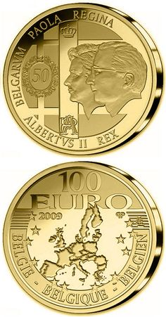 N♡T.100 euro: 50. Wedding day König Albert II. and Queen Paola.Country: Belgium Mintage year: 2009 Face value: 100 euro Diameter: 29.00 mm Weight: 15.55 g Alloy: Gold Quality: Proof Mintage: 5,000 pc proof