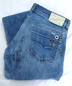 DIESEL Jeans Viker 36W Blue Classic Slim Straight Distressed Button Fly Italy #DIESEL #ClassicStraightLeg