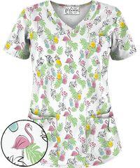 White Scrub Tops, Cute Scrubs, Scrubs Uniform, White V Necks, Stand Tall, Pink Flamingos, Floral Tops, Ua, Blouse