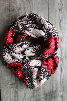Nordic print scarves. So cute! You can choose which finish you want infinity or regular!