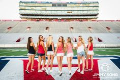 Instagram: @jimmysongphotography University of Arizona Group Senior Picture. Poses with Beautiful Girls. Smile. Love. Tucson Arizona Sorority Football stadium