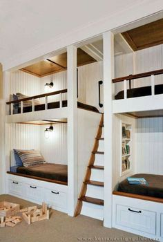 Bunk room replicates the inside of a ship's cabin in this Cape Cod family compound Bunk Bed Rooms, Bunk Beds Built In, Bunk Beds With Stairs, Wood Bunk Beds, Bunker Bed, Cool Beds For Kids, Built In Beds For Kids, Design Living Room, Living Rooms