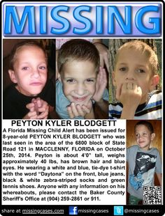 ENDANGERED! 10/25/2014: Peyton Blodgett, age 8, is missing from Macclenny, Florida. Peyton is AUTISTIC.  ***Thank you for repinning!