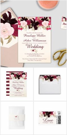 Bohemian Floral Wedding Collection - This wedding invitation suite features dark purple, red and pink flowers for boho brides. This posy bouquet wedding collection includes all of the essentials, and more! Invitations, envelopes, stamps, labels, belly bands, five RSVP options, enclosure cards, save the date, thank you cards, and also, all of the paper for your ceremony and reception. The set is perfect for these wedding themes; bohemian, modern, romantic, feminine, fall, winter and…