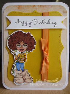 Handmade Greeting Card Happy Birthday 70s by HawaiiPaperParty, $6.00 #jenbnr