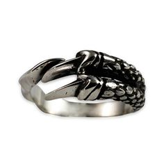 Moon Wings Solid Sterling Silver Dragon Paw Vintage Mens Ring Adjustable Open Ring *** Want to know more, click on the image.