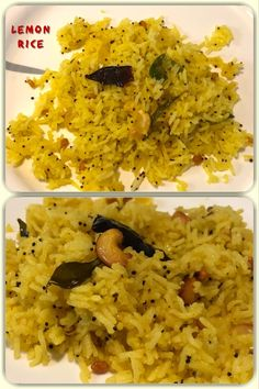 Lemon rice is one of the most popular South Indian rice recipes. It is quite simple, quick and easy to cook dish and is a very tasty dish without the over powering taste of many spices. Vegetarian Rice Recipes, Vegan Recipes, Rice Dishes, Tasty Dishes, Lemon Rice, Indian Food Recipes, Ethnic Recipes, Good Food, Spices