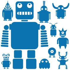 Robots and Aliens wall stickers