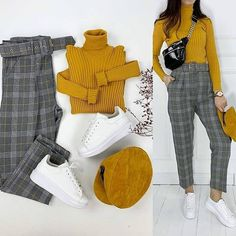 Outfit to share 😇🌼 . Grey Pants Outfit, Casual Hijab Outfit, Casual Work Outfits, Work Casual, Classy Outfits, Stylish Outfits, Cute Outfits, Winter Fashion Outfits, Hijab Fashion