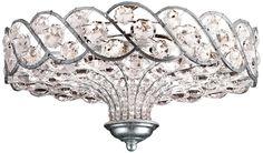 Catara Silver Leaf 6-Light 18 Wide Crystal Ceiling Light -