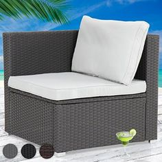 Miadomodo Polyrattan Lounge Corner Sofa 68/68/63 cm Outdoor Garden Patio Wicker Furniture (Grey)
