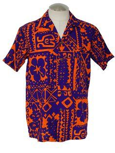 c8171749 Komehameha 1970s Vintage Hawaiian Shirt: 70s -Komehameha- Mens ... Vintage  Hawaiian