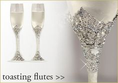Unique Wedding Toasting Glasses | bridal party gifts jewelry invitations wedding favors keepsakes top ...