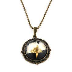 """Vintage Kette """"Margerite"""" von SCHMUCKZUCKER lange Kette mit echter Blüte bronze (schwarz), http://www.amazon.de/dp/B00NKMWMGU/ref=cm_sw_r_pi_awdl_6xh2vb0XEB9TE"""