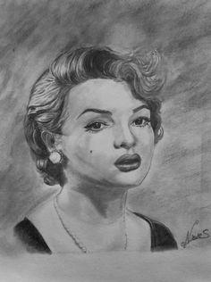 Retrato a lápiz de Sarita Montiel . por Nieves Bosquet