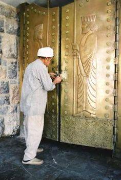 Doors of Pir-e Sabz, Yazd, Iran.