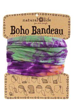 Boho Bandeau Green & Purple Tie Dye