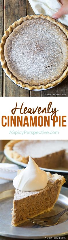 Absolutely the Best Cinnamon Pie Recipe! Perfect creamy cinnamon filling baked into a golden crust. Cinnamon Pie is the perfect dessert for holiday meals. Beaux Desserts, Just Desserts, Delicious Desserts, Yummy Food, Autumn Desserts, Fall Dessert Recipes, Italian Desserts, Dessert Food, Cinnamon Pie