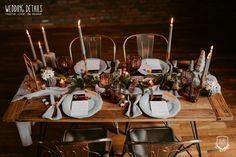 Industrial Winter Wedding / Nuntă industrială de iarnă - Sedință foto inspirațională - PAPIRA Grooms Table, Copper Decor, Table Set Up, Sweetheart Table, Industrial Wedding, Wedding Photoshoot, Event Design, Wedding Table, Wedding Details